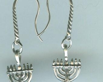 Sterling Silver MENORAH  Earrings - 3d - Jewish Hannakah