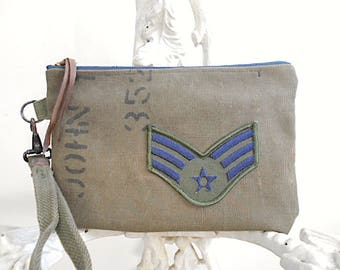 Military canvas wristlet, clutch - insignia patch - eco vintage fabrics