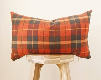 "ORANGE PLAID FLANNEL - 12x20"" Pillow Cover, Orange/Brown/Natural"