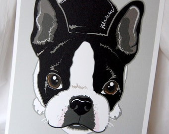 Boston Terrier on Gray Background - 8x10 Eco-friendly Print