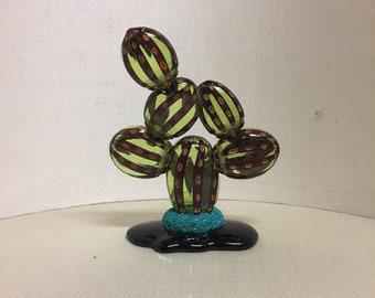 Murano Glass Cactus-Murano crystal cactus-oily glass plant with murrine-Murano glass fat plant-engraved Murrine