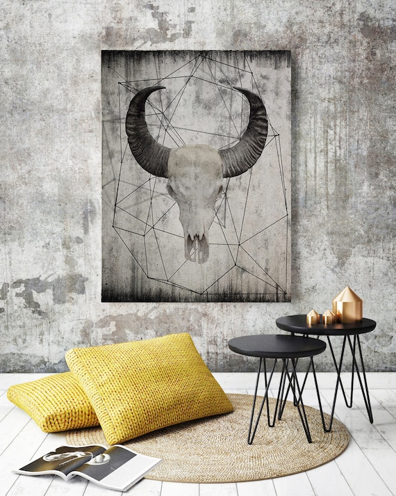"Buffalo skull 4.  Extra Large Rustic Buffalo Skull Beige Canvas Wall Art Print up to 72"", Animal Rustic Canvas Wall Art Print Decor"