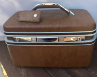 Train case Samsonite brown hard Carry on luggage
