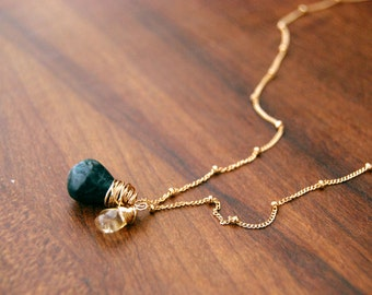 delight... turquoise, citrine, gold necklace / plump dark turquoise & smooth citrine 14k gold filled necklace / november december birthday