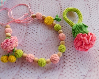Nursing Necklace, Crochet baby toy SET, Pink flower -Breastfeeding, Teething baby toy, Baby Rattle, Crochet Rattle, Crochet Nursing Necklace