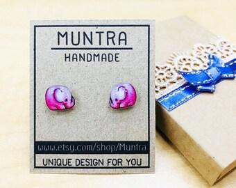 ELEPHANT STUD EARRINGS - Elephant Jewelry Elephant Resin post Earrings Resin Jewelry Pink Elephant Earrings Resin Earrings Gift for Women