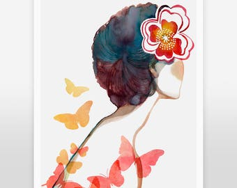 "Girl with butterflies, and red flower art print - ""Wish We Were Butterflies"""