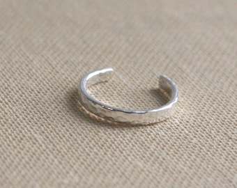 Sterling Silver Thin Ear Cuff - 2mm Hammered