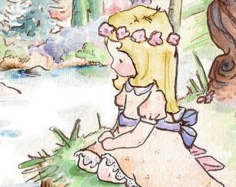 Children Art Print. Swan Princess BLONDE. PRINT 8X10. Nursery Art Home Decor