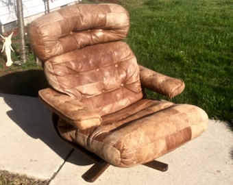 Crazy 1970's Patch-Work Tan Leather Lounge Chair