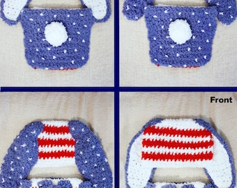 0 to 3m Newborn Bunny Hat, Newborn Boy, Newborn Girl, Newborn Hat, Hat and Diaper Cover Set, Red White Blue Patriotic Baby Hat Bunny Costume