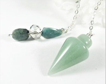 Green Jade Pendulum Points, Jade Gemstone Pendulum Pendant, Pagan Wicca Psychic Divination Tool, Chakra Point Pendant, Gifts under 10