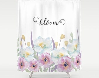 Watercolor flowers Fabric Shower Curtain, white,bathroom,home decor,pastel flowers,nature,cottage, typography,floral shower curtain