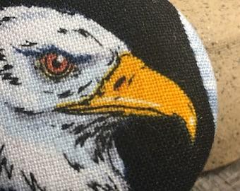 Whimsical badge button holder eagle