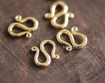 10pcs Gold/ Silver S Clasps 13mm, Real Gold/ Rhodium plated Brass, S Shaped Necklace Bracelet Clasp (GB-047)