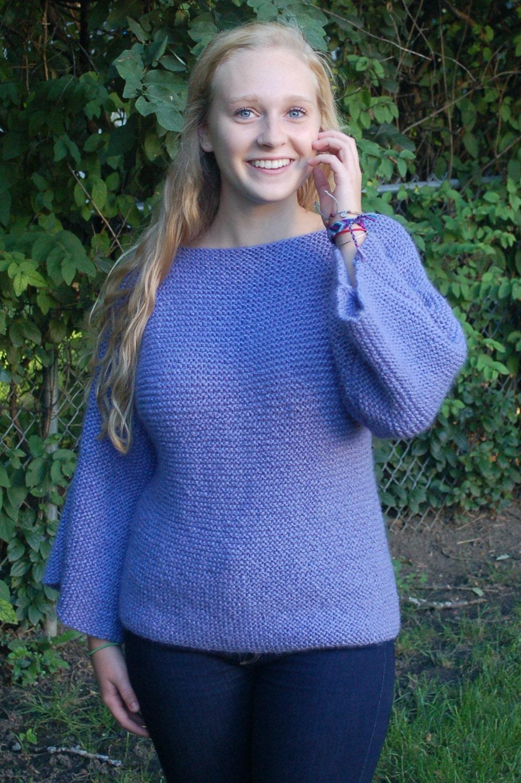 Easy to knit sweater pattern Garter stitch knitting pattern