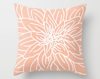 Modern Abstract Spring Flower Pillow with insert - Peach - Pastel Home Decor -