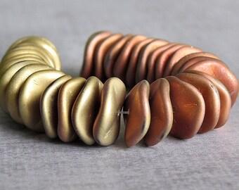 Matte California Gold Rush 12mm Ripple Czech Glass Bead : 10 pc Matte Gold Wavy Disc Bead