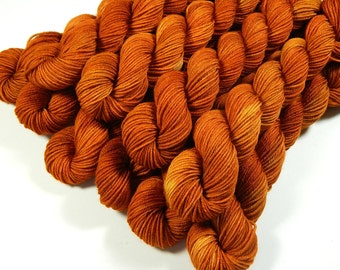 Mini Skeins, Hand Dyed Yarn, Sock Weight 4 Ply Superwash Merino Wool Yarn - Copper - Knitting Yarn, Sock Yarn, Orange Autumn Fingering