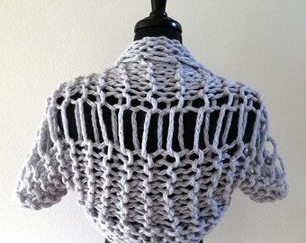 SALE - Silver Light Gray Color Chunky Wool Acrylic Yarn Knitted Summer Shoulder Shrug Bolero Sleeves