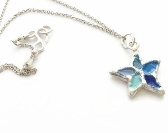 Sterling Silver Star Pendant Necklace Blue and Turquoise  Coloured Enamel - HALLMARKED