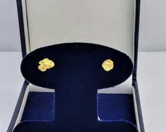 Gold Nugget Stud Earrings, Real Natural Yukon Gold Rush Nugget Earrings, Genuine Gold Nugget Earrings, E4