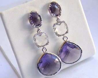 Purple Earrings, Lavender, Amethyst, Glass, Clear, Silver, Bridesmaid Jewelry, Bridesmaid Earrings, Bridal Jewelry, Bridesmaid Gifts