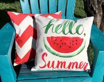 Hello Summer watermelon-pillow cover