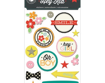 Hey Kid Layered Chipboard Stickers - Pink Paislee