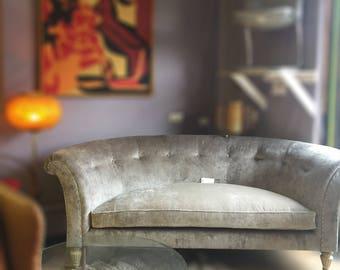 Henredon Curved Sofa in Gray Velvet with Pleated Back