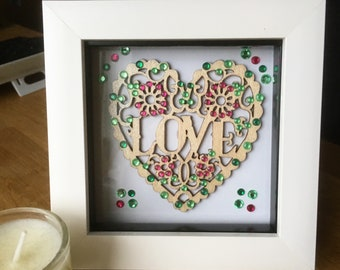 Framed Love Heart Pink Green Crystal Embellished Wooden Heart