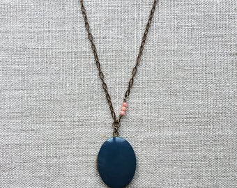 Blue enamel locket necklace