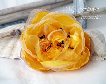 Yellow flower Brooch pin Millinery Flower Large Flower for hair Mother of bride Gift Idea Floral head piece Yellow wedding Bridal hair piece