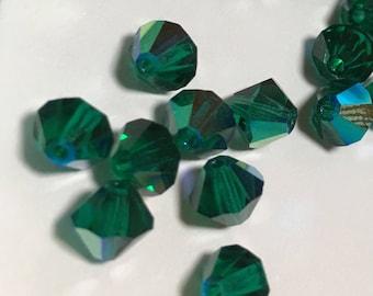 Preciosa Czech Crystals Emerald AB 6mm Bicone (20 pc)