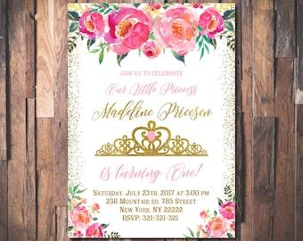 Princess Invitation, Princess birthday invitation, Gold crown invitation, Gold glitter pink printable, Princess invites 1059