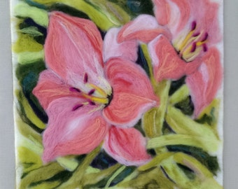 Needle Felted Wool Original Painting Wall Hanging  of Summer Day Lilies