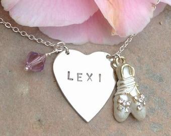 ballerina necklace, ballet necklace, child necklace,heart,personalized necklace, dance necklace, ballet, name necklace, birth stone necklace