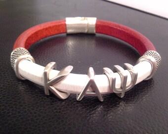 Divine 9 KAPPA ALPHA PSI Greek Letter silver slider Fraternity Bracelet Leather