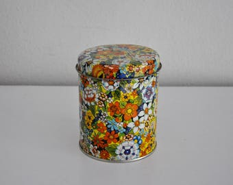ON SALE Vintage Floral Flower Tin