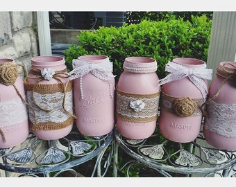 Six-Piece Burlap and Lace Mason Jar Decor/Light Pink Girl Baby Shower/ Rustic Wedding Party Decor/ Quart Size Centerpieces/ Shabby Chic Home