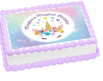 Unicorn edible image for cakes, cupcakes, cookies