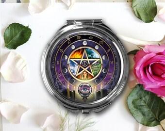 Purple Pentagram Compact Mirror, Pentagram Pill Box, Pendant, Key Fob, Pagan Gift, Wiccan, New Age, Metaphysical
