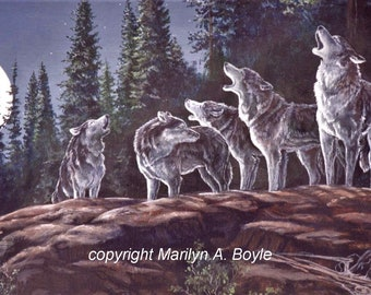BLANK WOLF CARDS; set of four, invitation size with matching envelopes, from my original art work, hand made, greeting cards