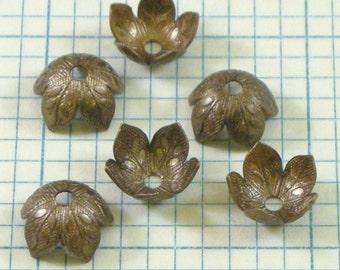 6 VINTAJ 8mm Foliage Bead Caps - BC160