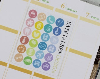 Icon Planner Stickers for Erin Condren, Icon Stickers, Colourful Icons, Rainbow Icons