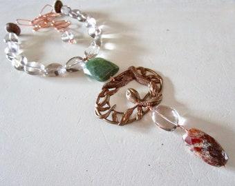 Snake Goddess Garnet Smoky Quartz Copper NEXUS Pendant Necklace - Vintage - catROCKS - Etsy Jewelry- Statement - Grace and Frankie - OOAK
