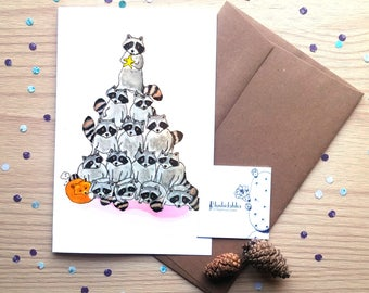 Funny Raccoons, fox, friends, winter, christmas, watercolor, illustration, print, wall decor, baby shower gift, nursery