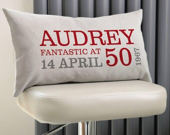 Personalised 50th Birthday Rectangular Cushion