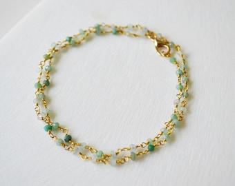Gemstone Necklace, Chrysoprase Necklace, Gemstone Necklace, Gemstone Jewelry, Dainty Necklace, Simple Necklace, Layering Necklace.