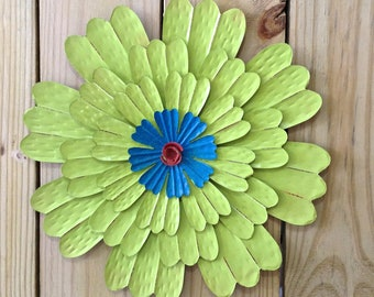 "14"" Metal Flower Wall Art 'Sadie' - Lime Fence Decor - Patio Garden Shed Barn Decor - Gift for Mom"